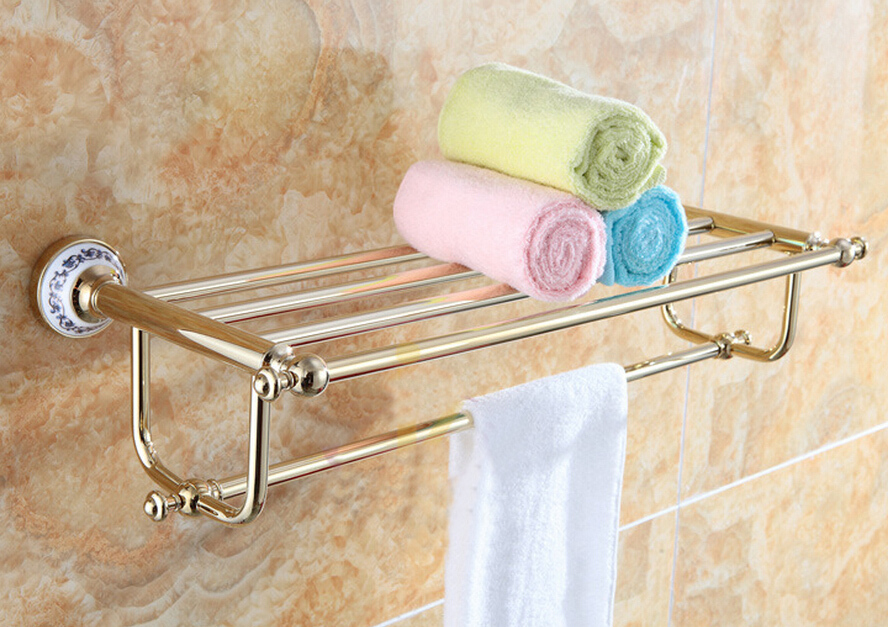 Free shipping Towel Racks Luxury Bathroom Accesserries Golden Finish Bath Towel Shelves Towel Bar bath hardware DB008K-1 free shipping towel racks luxury bathroom accesserries golden finish bath towel shelves towel bar bath hardware db008k 1