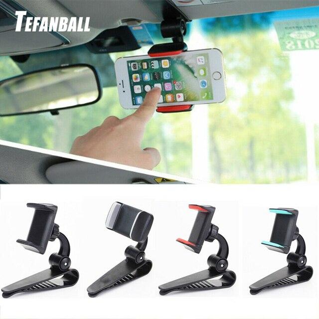 אוניברסלי לרכב מגן שמש טלפון מחזיק 360 תואר סיבוב רכב ניווט הר Stand קליפ טלפון נייד סוגר אבזר