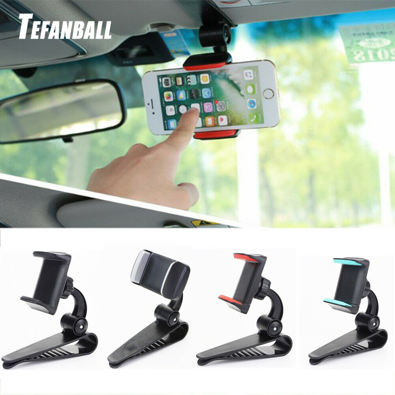 Universal Car Sun Visor Phone Holder 360 Degree Rotation Automobiles Navigation Mount Stand Clip Mobile Phone Bracket Accessory-in Ornaments from Automobiles & Motorcycles