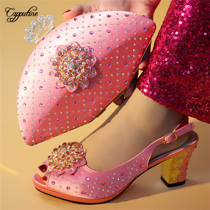 Hauteur Or rose vert Rouge Embrayage Pretty Strass Lady Le Ensemble Main Mariage Sac Pink 4 Sandale partie 7 pourpre Et À Du Talon Pour Chaussures Cm De Avec D722 rose m0wy8vONnP