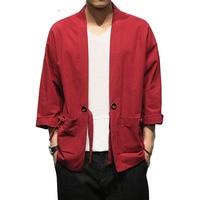 Cotton Mens Linen Shirt Long Sleeve Collarless Kimono Cardigan Belt Pocket Streetwear Harajuku Shirt Men Summer Male Traditional