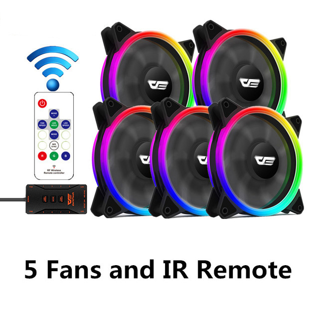 Aigo DR12 Pro Чехол для компьютера ПК Вентилятор RGB регулируемый светодиодный вентилятор Скорость вращения 120 мм тихий пульт AURA синхронизирующий компьютер охлаждающий RGB чехол вентиляторы - Цвет лезвия: 5 fan and controller