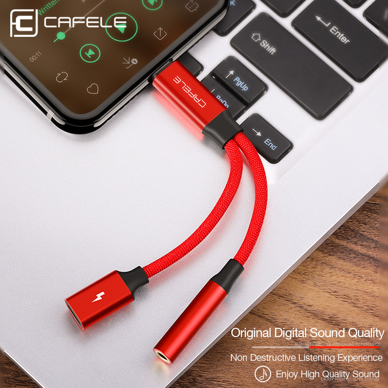 CAFELE Audio Cable for iPhone X 8 7 Cable Splitter for iPhone to 3.5mm Jack Aux Adapter for iPhone IOS 11 Charging songs sync