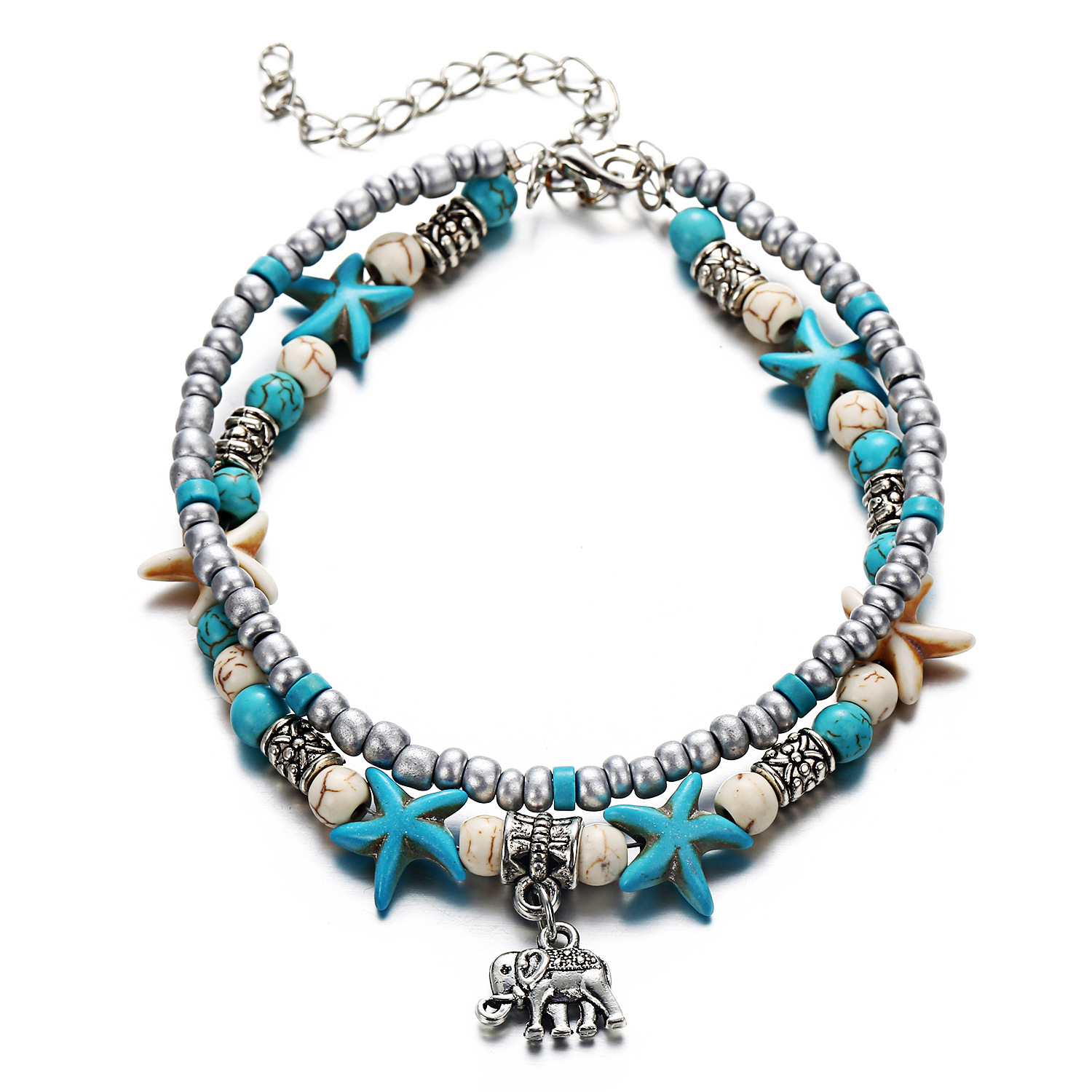 LE SKY New Fashion Beach Jewelry Double Layer Elephant Pendant Beads Anklet Foot Chain Ankle Bracelet Jewelry For Women