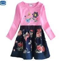 Nova 2015 New Design Spring Autumn Long Sleeve Embroidery Floral With Dots Girl Causal Dress Nova
