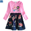 novatx H6241  new design spring autumn long sleeve embroidery floral with dots girl causal dress nova kids little girls dresses