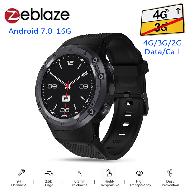 Zeblaze THOR 4 4G Smartwatch Phone Android 7.0 MTK6737 Quad Core 1GB+16GB 5MP Camera 580mAh 4G/3G/2G Data Call Smart Watch Men zeblaze thor smartwatch phone 4 4g lte gps android 7 0 mtk6737 quad core 1gb ram 16gb rom 5 0mp camera 4g 3g 2g watch phone