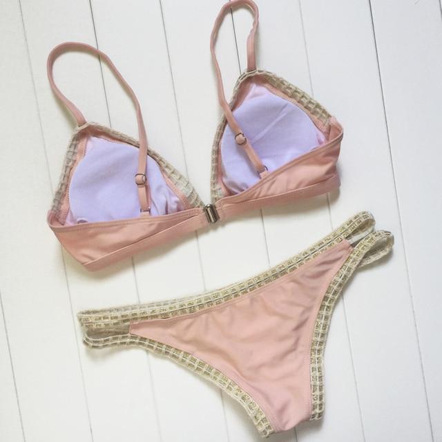 Sexy Women Bandage Lace Crochet Triangle Bikini Set Push Up Bra Swimwear Swimsuit Hot Bath Biquini Pink Two-Piece Suits 4