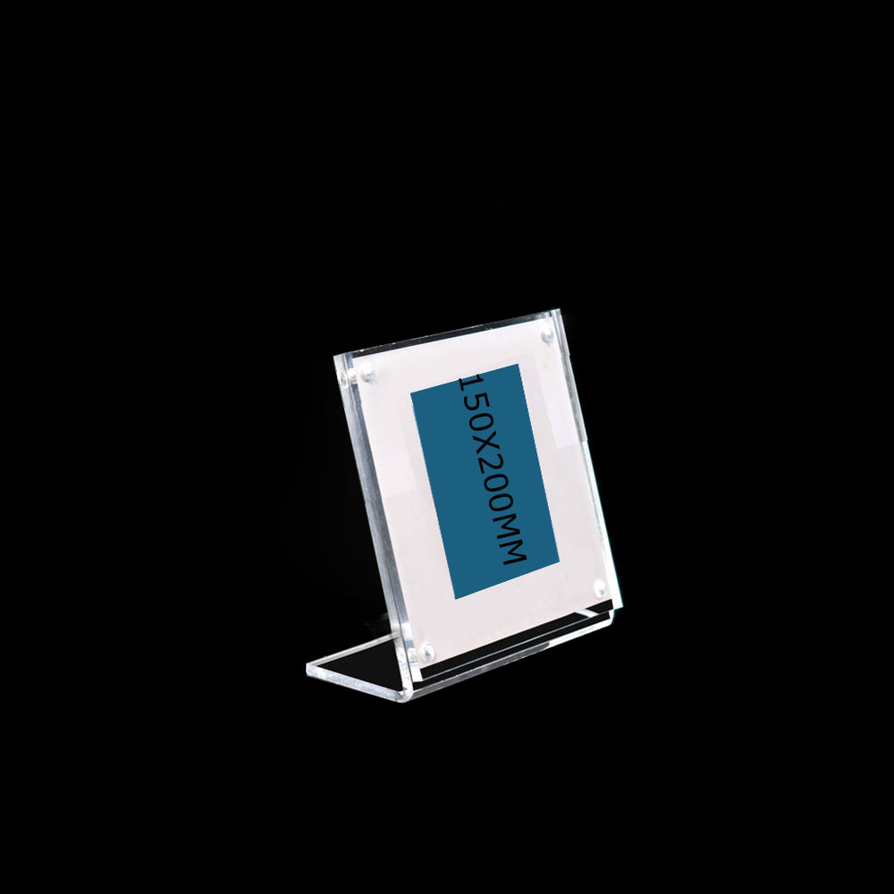 15x20cm Acrylic Tent Display Price L Type Slanted Sign Frame Holder Magnet Photo Picture Stand
