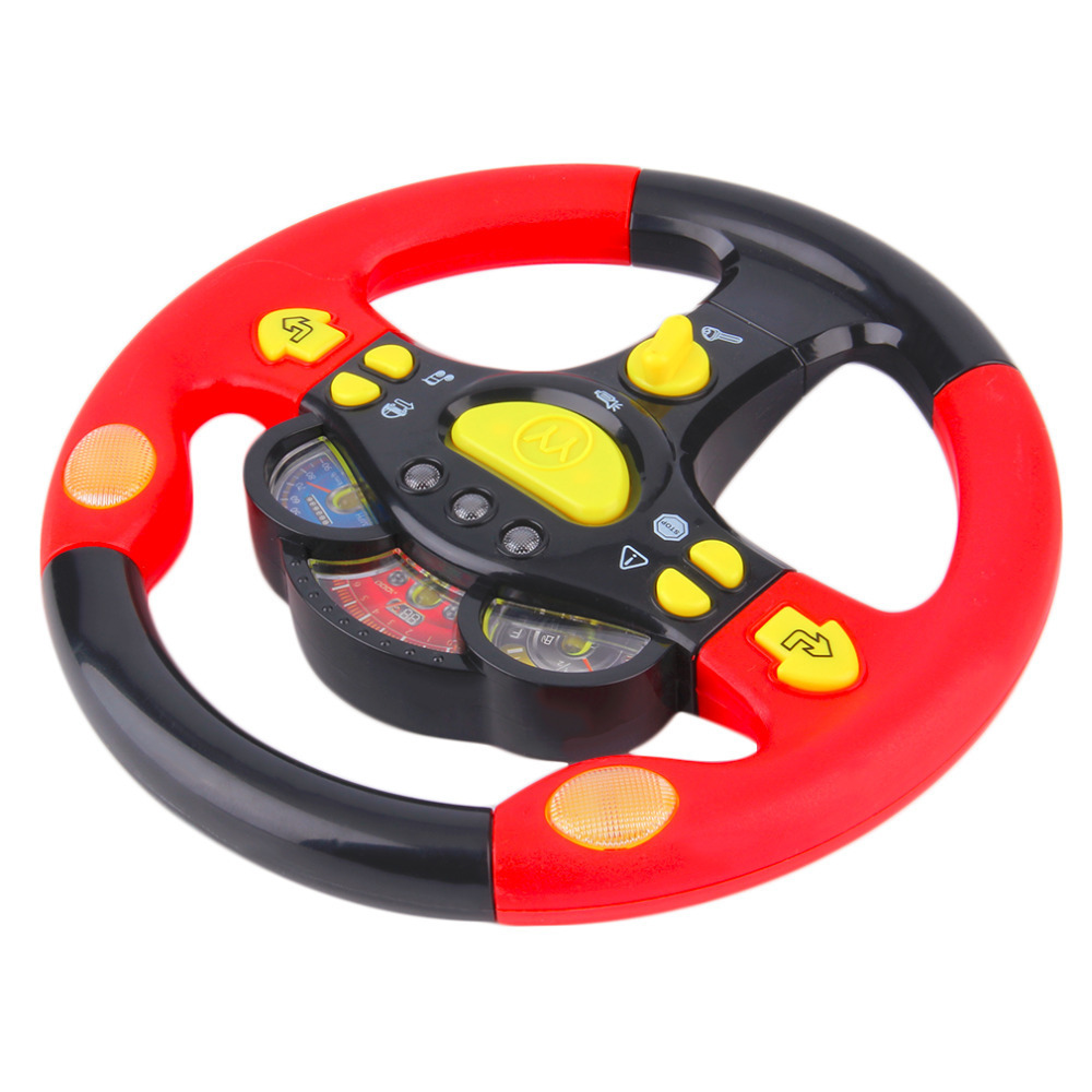 Childrens Steering Wheel Toy Baby Educational Car Driving Simulation Play Toys with Flashing Lights Sound Effects for Children