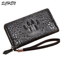Men's wallet Thai crocodile leather wallet men's long handbag female leather wrist bag zipper wallet clutch Europe America 004