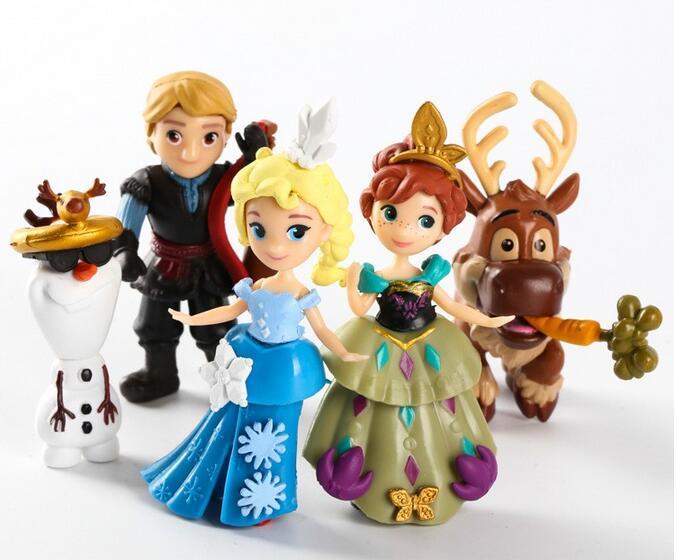 5pcs set 6 9cm Movie Princess Anna Elsa Kristoff Sven Olaf action figure toys kids toys