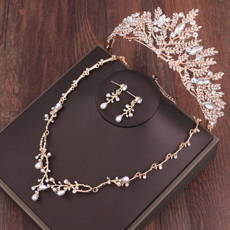 Великолепный золотой Для женщин украшения для волос с коронами Цепочки и ожерелья серьги жемчуг бриллиантовые диадемы Свадебная вечеринка...
