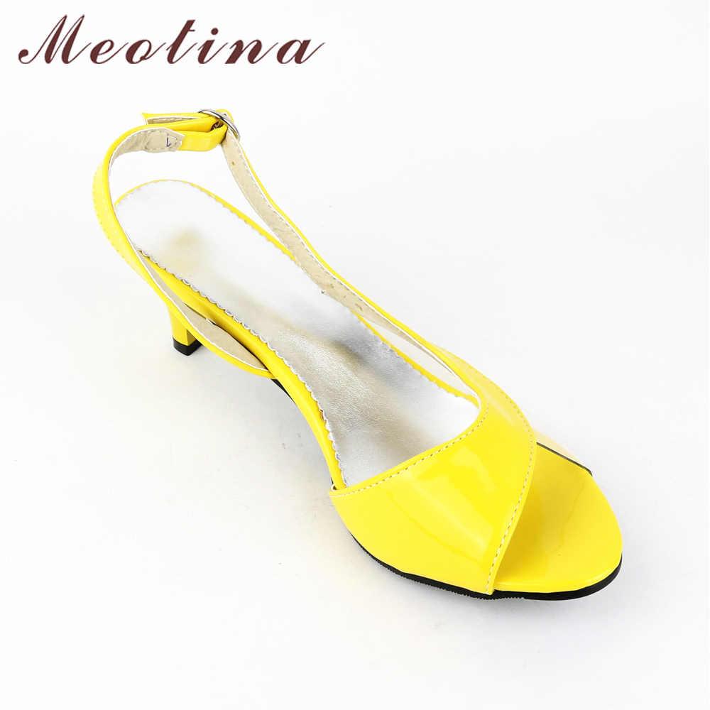 7731c9d6c45b2 ... Meotina Shoes Women Sandals Summer Ladies Sandals Transparent Neon Low  Heels Designer shoes High Heels Yellow ...