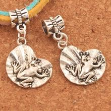 Frog On Lotus Leaf Big Hole Beads 32.2x16.9mm 100PCS Antique Silver Dangle Fit European Bracelets Jewelry DIY B041 frog charm beads 30 8x15 6mm 100pcs antique silver dangle fit european bracelets jewelry diy b167