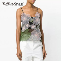 TWOTWINSTYLE Floral Vest For Women Sleeveless Embroidery Patchwork Backless Spaghetti Strap Top 2018 Summer Sexy Fashion Clothes