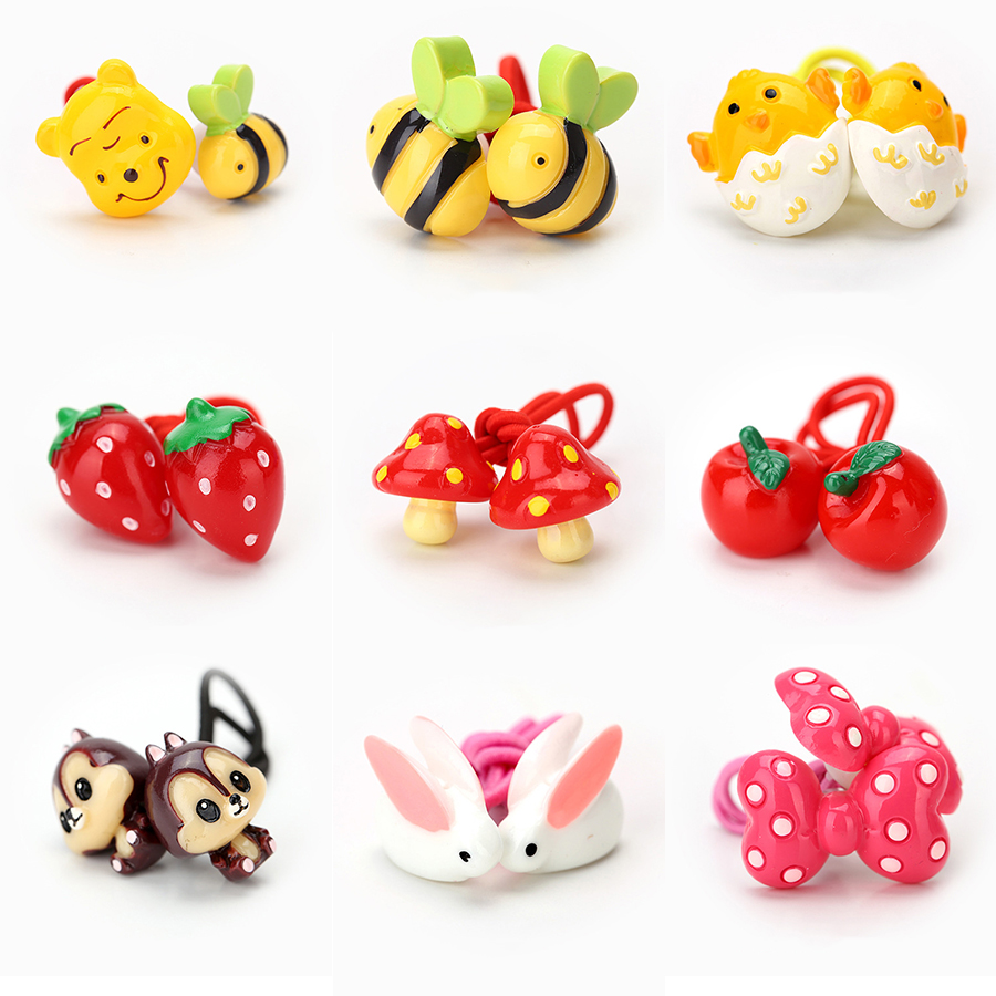 Newly Design Children's Hair Accessories Headwear Elastic Hair Bands Cute Cartoon Animal Baby Headdress Girls Hair Rope