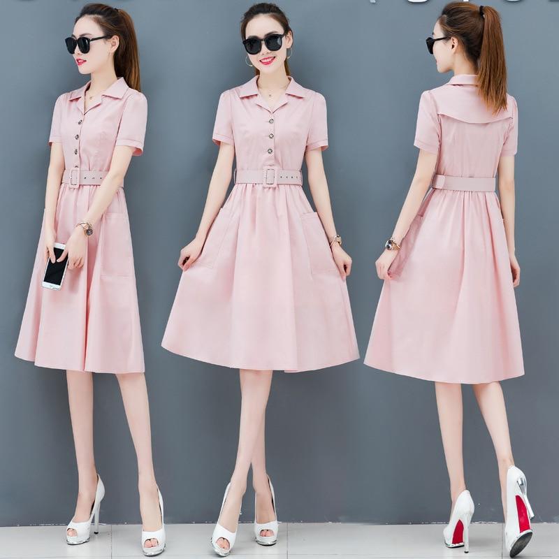 2019 Women Streetwear Summer Dress Elegant V Neck Short Sleeve Button Midi Dresses Four Pure Colors Casual Holiday Dress