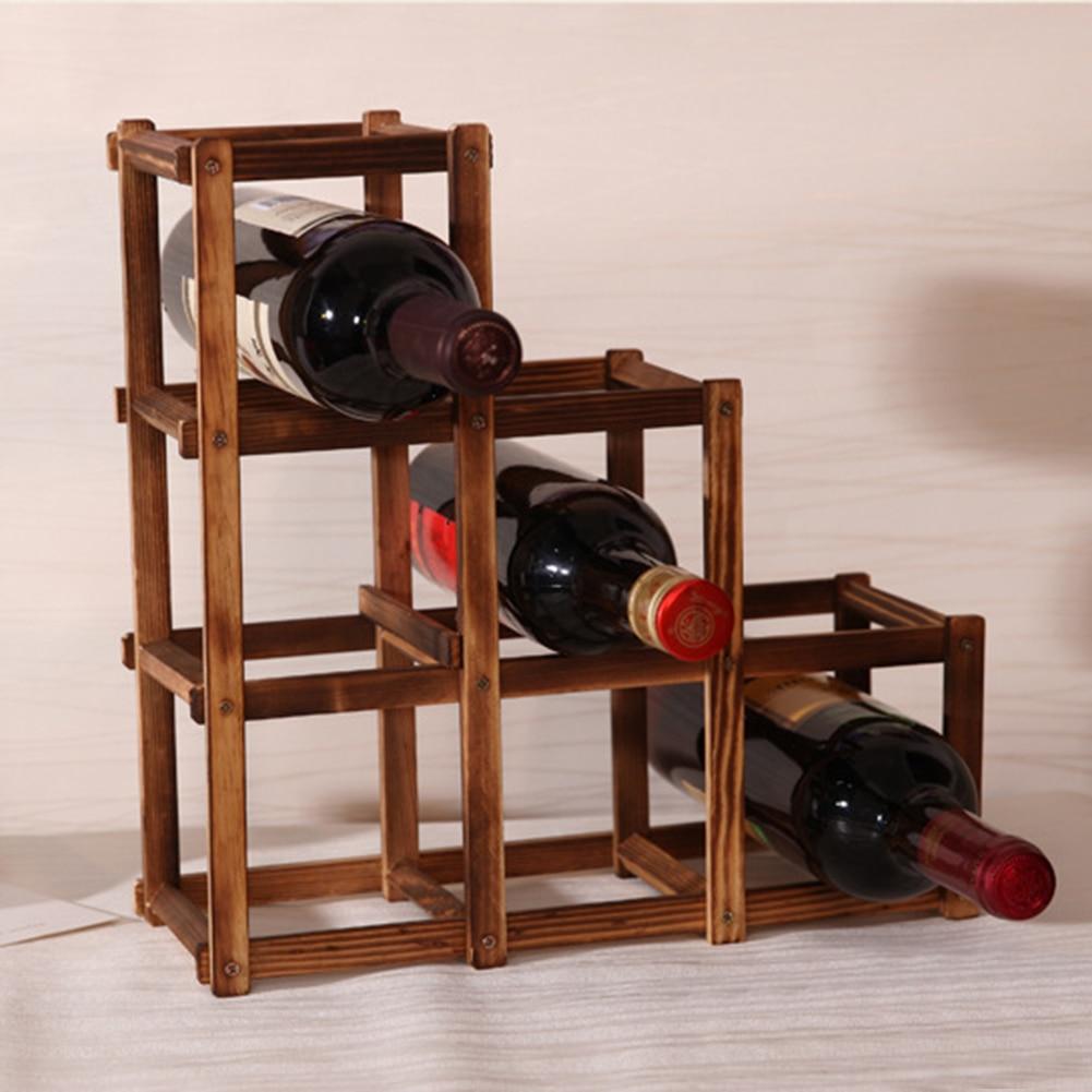 HOT SALE Foldable Charcoal color 6 Grid Wood Wine Holder Fashion Wine Rack Bar/Home/Restaurant Decor Kitchen Holder Display Sh