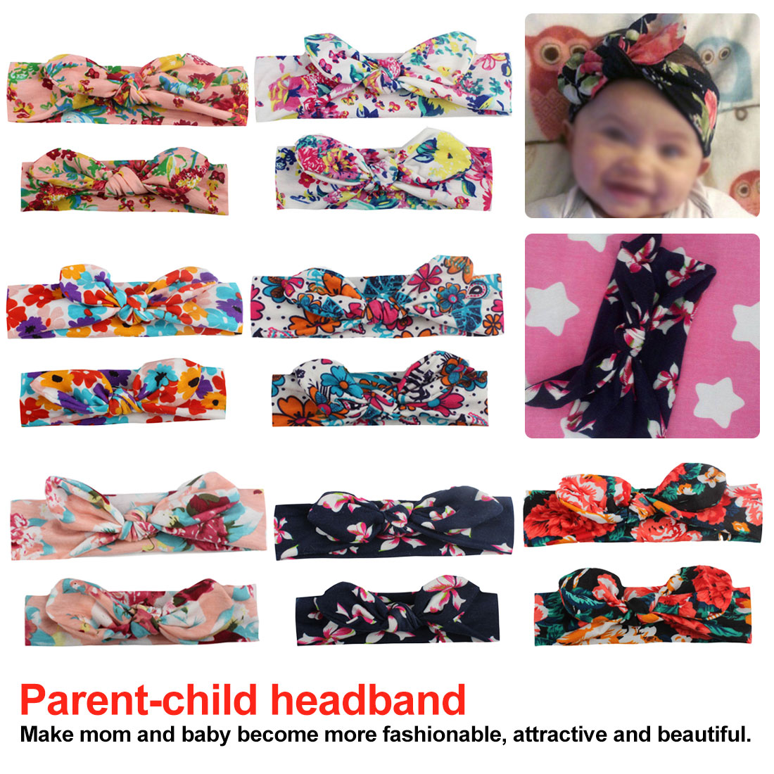 Parent-Child Hair Hoop Kid Girls Mother Daughter Rabbit Ear Bow Headband Elastic Knot Hair Band Cute Hair Clip Lovely Photo Acc