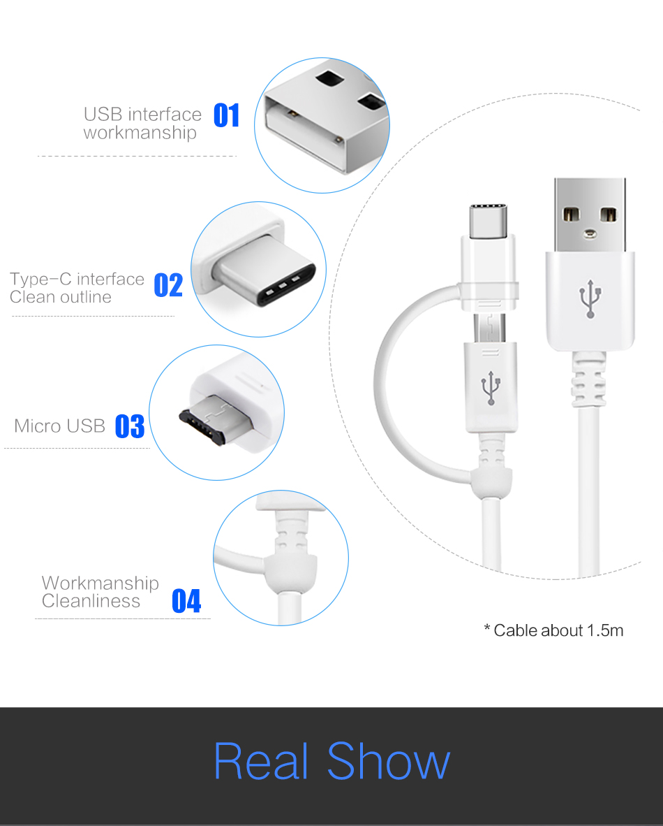 7Samsung S8 S8 plus Micro Usb Cabel for Samsung 2 in 1 USB Type C Cabel Fast Charger Data USB C Cabel S9 S9 plus Note8 Note9