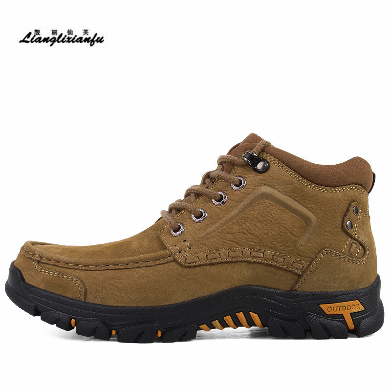 Men Mountaineering boot Cow Leather male Botas Round Toe Bottes Hiver shoes Casual ankle boot chaussure Bottes plus:38-46 47