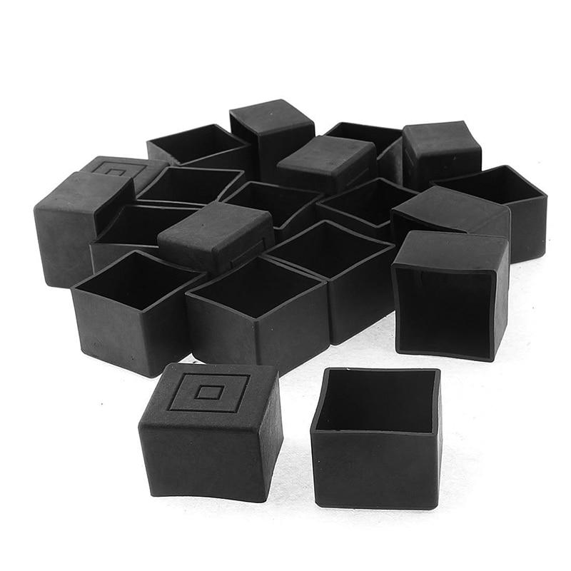 цена на Square Furniture Table Chair Leg Foot Cover Cap 30mmx30mm 20pcs Black