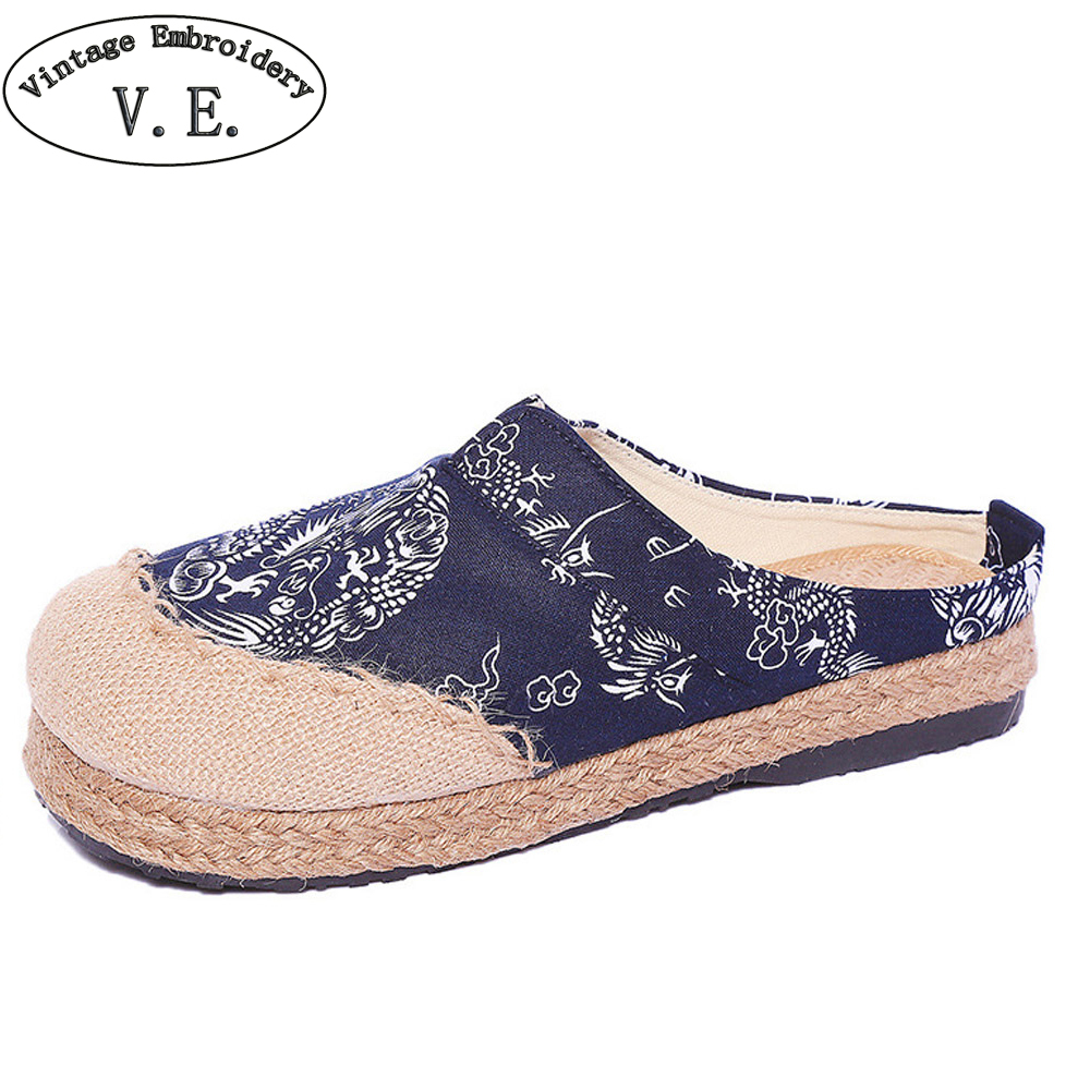 Women Linen Slippers Soft Casual Slip On Flat Shoes Round Toe Cotton Canvas Fabric Shoes Woman Ethnic Slides Plus Size 44 women slippers embroidered shoes vintage faux suede sandals rhinestone pointed toe soft slip on cotton shoes woman plus size 43
