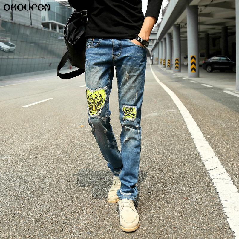 Mens Jeans 2018 Fashion Tiger Chain Spliced Hole Jeans Male Slim Fit Thin Denim Pants Long Trousers Free Shipping NZK34