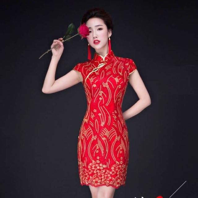 bf65285a5 De Encaje rojo Qipao Chino Tradicional Vestido de Novia Vestido de Novia de  Encaje Mujeres Sexy