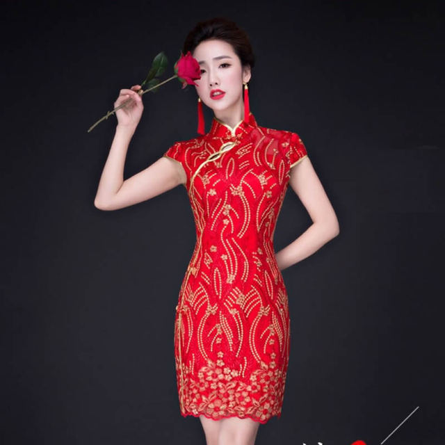 Red Lace Qipao Traditional Chinese Dress Bride Embroider Wedding Dress Women Sexy Cheongsam Vestidos Robe Orientale Qi Pao