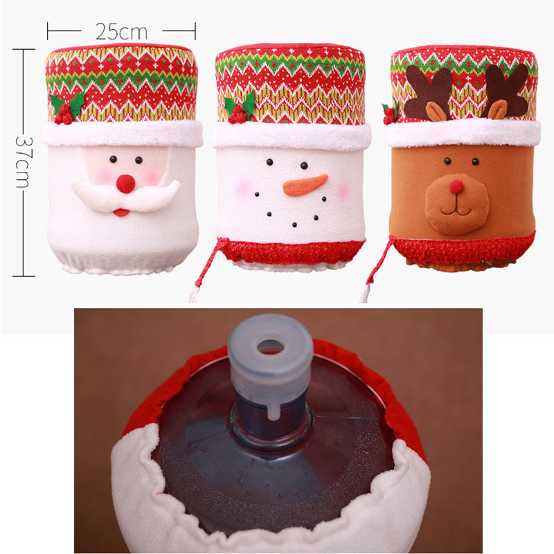 Christmas Tree Drinking Water: Barrelled Water Covers Santa Claus Water Dispenser Hats