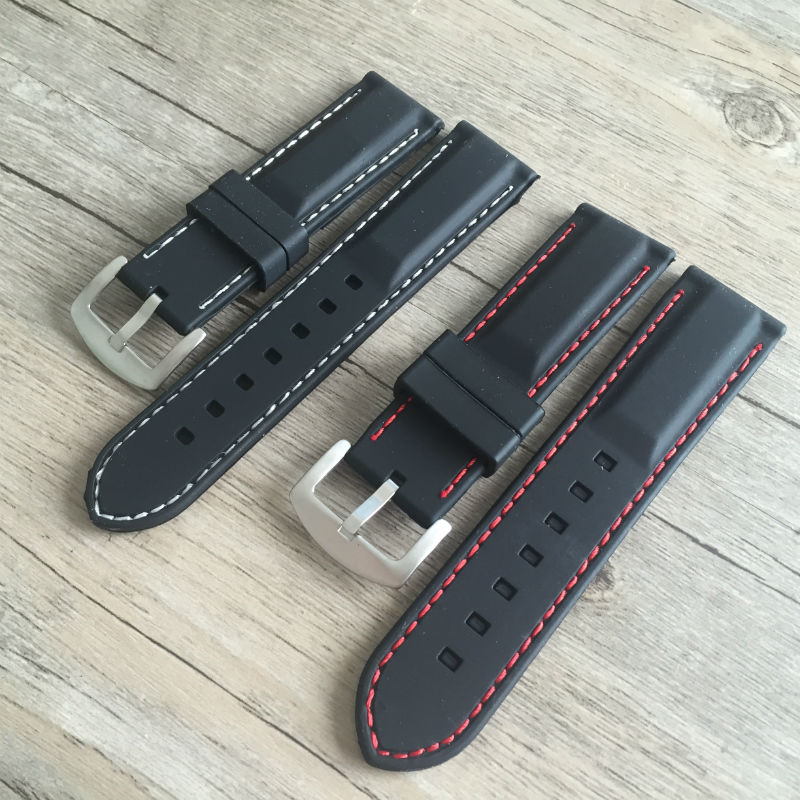 New Watch band 20mm 22mm 24mm Men Black Silicon Rubber Waterproof Divers Watch Strap Band Red Thread For Panerai Free Shipping hot sale for suunto observe x6hrm rubber watch band strap black waterproof free shipping