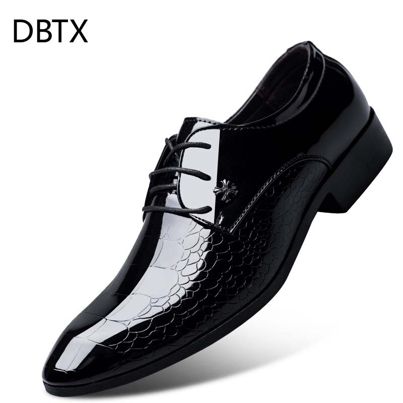 Plus Size Luxury Italian Style Men Dress Leather Formal Shoes Men Snake Skin Office Business Wedding Boat Pointed Toe Shoes Selected Material Formal Shoes