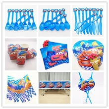82pcs/set  Lightning Mcqueen Party Supplies Tableware Plate Cup Flag Tablecloth Napkin Birtday Decoration For Kid