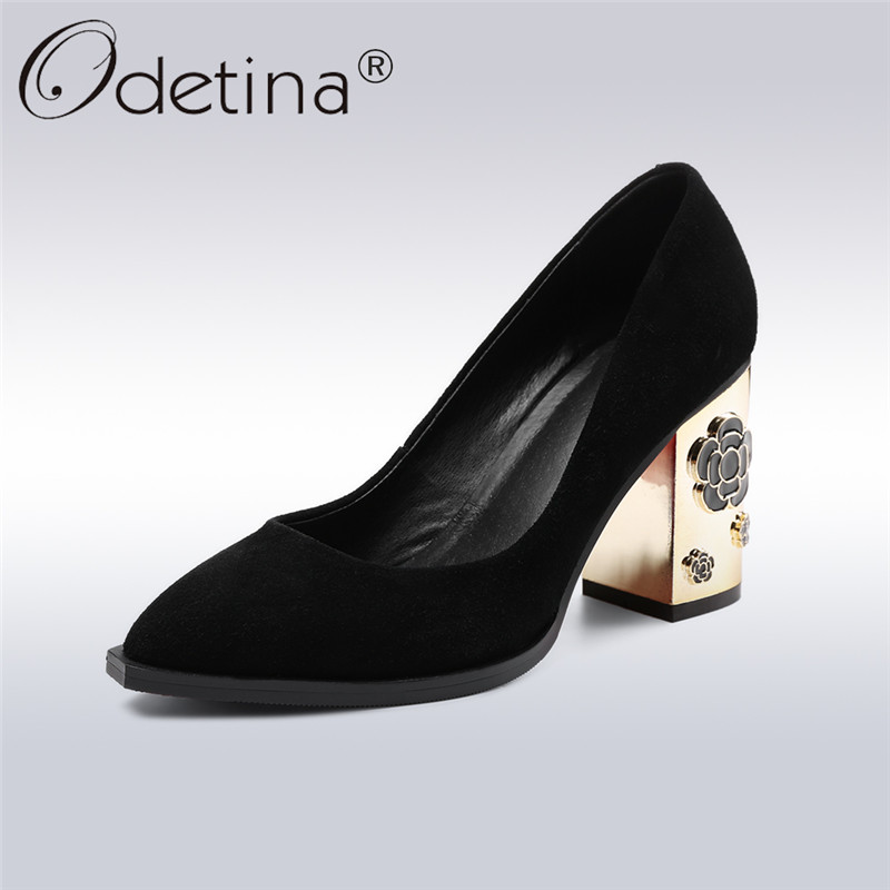Odetina 2018 New Fashion Genuine Leather Women Pumps Shoes High Heels Pointed Toe Party Shoes Square Heels Slip On With Flower 2017 new women s genuine leather pumps female casual shoes sexy lady medium heels fashion high wedges platform flower slip on