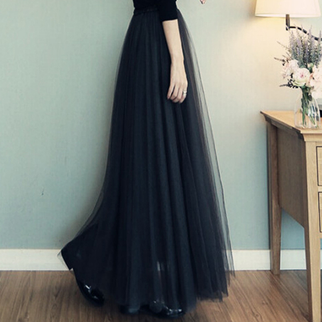 ace707096 Spring Summer Autumn Fashion Faldas Korean Style Big Swing Maxi Skirts  Womens Jupe High Waist Tutu Adult Long Tulle Skirt