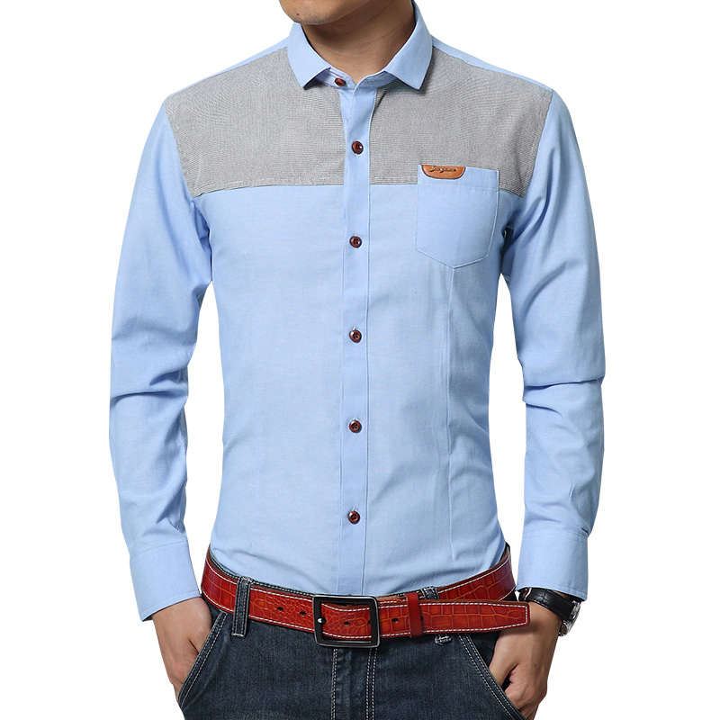 5e2a0bbd7f1 Fashion Spring Denim Shirt Men Slim Fit Cotton Shirt Long Sleeve Casual Mens  Satin Shirt Plus Size M 4XL-in Casual Shirts from Men s Clothing    Accessories