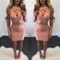 Vestito dalla fasciatura 2017 Maniche Lunghe Hollow-out Sexy vestiti da Partito Club Wear v-Collo di colore Solido Cinghia Vestiti Estivi per donne