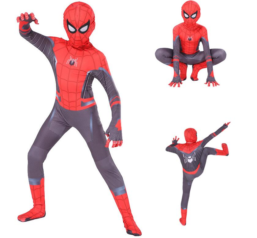 Spider-Man Far From Home Adult Kids Peter Parker Zentai Cosplay Costume Jumpsuit
