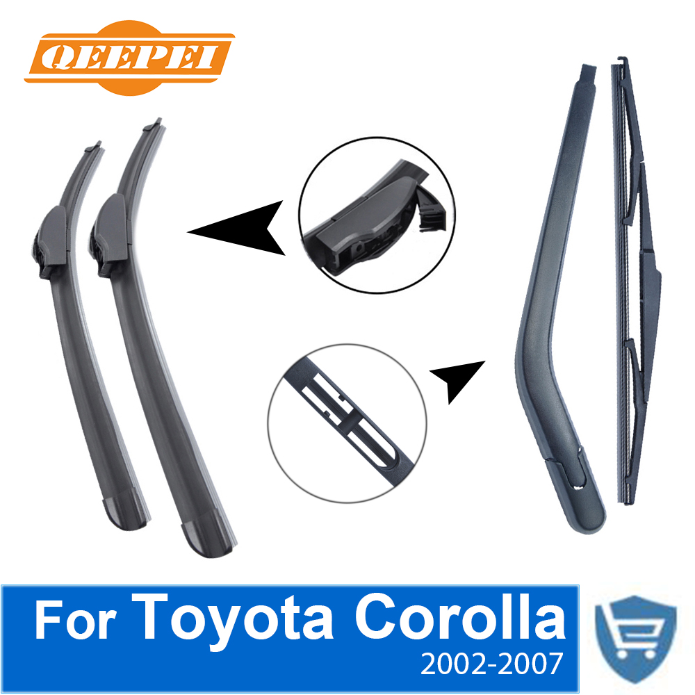 QEEPEI Front and Rear Wiper Blade Arm For Toyota Corolla 2002-2007 3/5-door Hatchback High quality Natural Rubber Windscreen