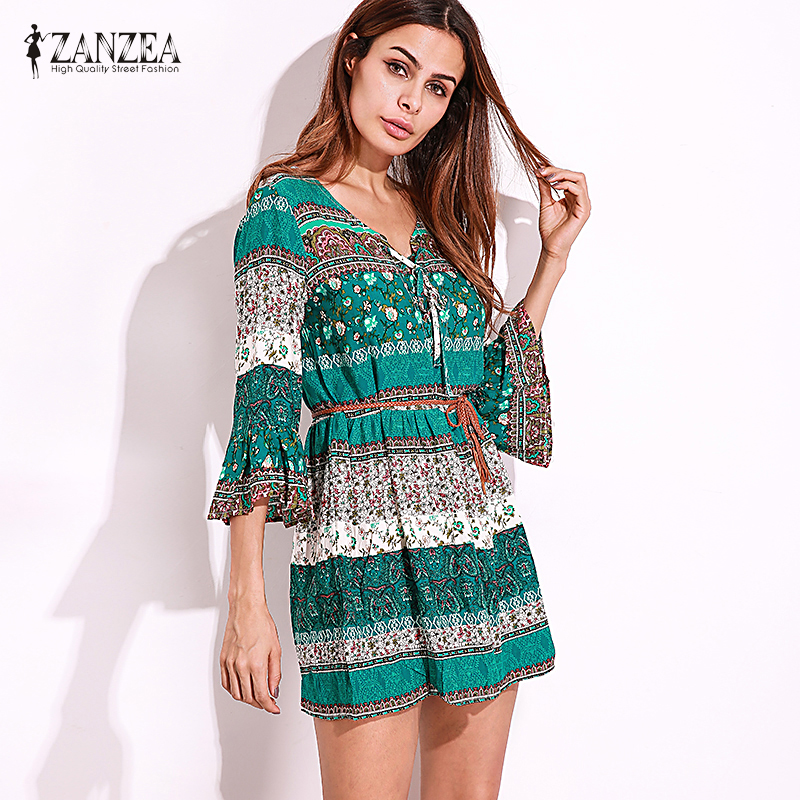 ZANZEA Kvinnor Vintage Floral Print Sexig Party Mini Dress 2018 Lady - Damkläder - Foto 3