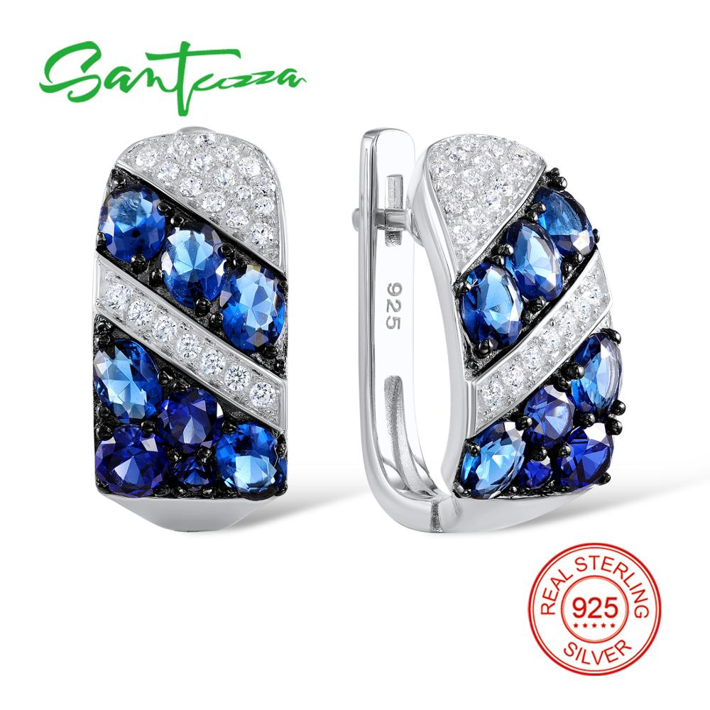Silver Stud Earrings for Women Blue Nano Cubic Zirconia White Cubic Zirconia Pure 925 Sterling Silver