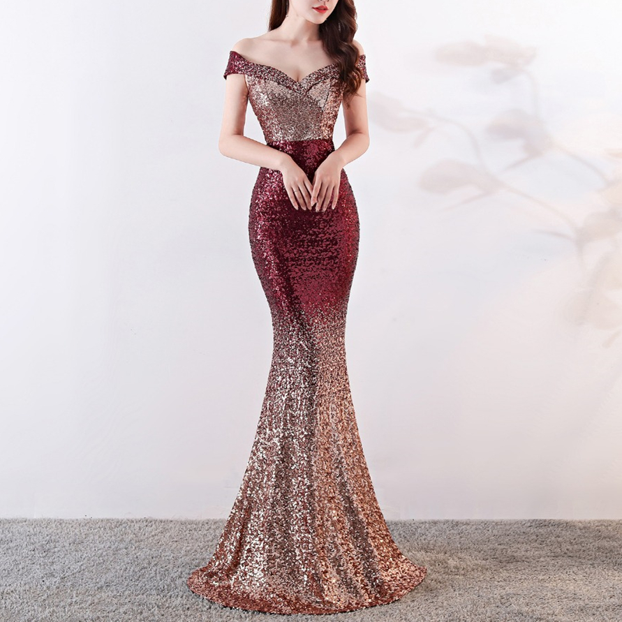 2019 Sexy Sequin Maxi Dress Women Sexy Evening Party Dress Slash Neck Elegant Wedding Vestido de