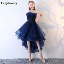 e7ab124e9 Robe De Soiree Nuevo azul marino alto bajo vestido De noche Appliques  cintura sin tirantes atractivo