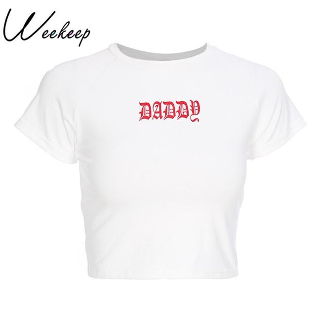 9b4b32e4ae54 Weekeep Slim Waist Letter Print Tees Women White Sexy Cropped Short Sleeve  Cotton Daddy t-