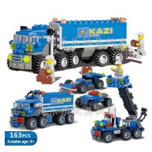 Building Blocks Small Grain Engineering Series Transport Truck Originality 8 Species Deformation Kai Zhi 6409