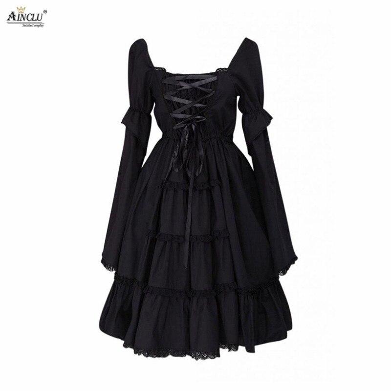 Ainclu XS à XXL Cemavin femmes col carré dentelle noire haute qualité coton Cosplay gothique a-ligne Lolita robe pour quatre saisons
