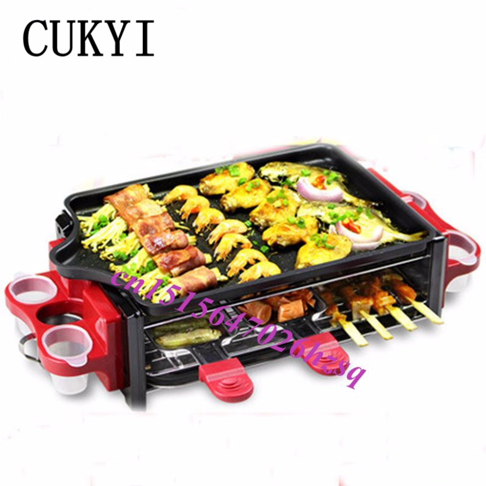 CUKYI Electric Grill/Griddle Barbecue Roasting Maker Korean Takoyaki BBQ Oven with Pancake, Pan, Demountable Oil Collector 220v 2800w commercial home electric barbecue grill oven oil free and smokeless bbq grill pan teppanyaki fast heating