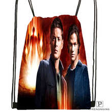 Custom supernatural @02-Drawstring Backpack Bag Cute Daypack Kids Satchel (Black Back) 31x40cm#180611-01-30
